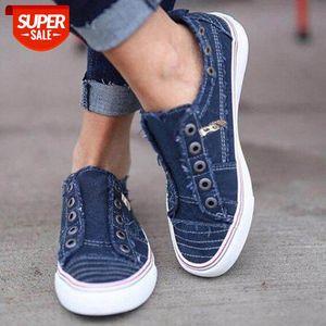2019 Moda Mujer zapatillas de deporte Denim Zapatos casuales femeninos de verano Traineros de lona para damas, sol, tenis feminino # QG9P