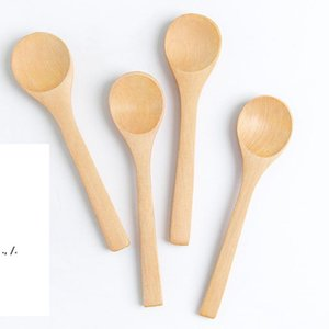 Japanese Wooden Lettering Logo Mini Honey Spoons Handmade Unpainted Bamboo Childrens Jam Spoon Occasions For Gifts Wedding RRF11160