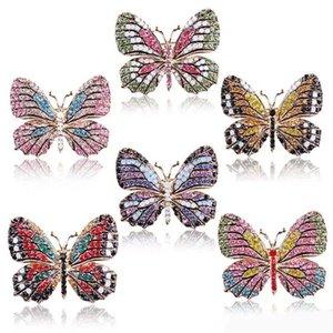 Butterfly Brooch designer Brooches Multi Color Rhinestone Crystal Pins Vintage Fashion Women Wedding Bridal Garments Clothes Pins