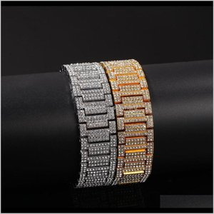 Id, Identification Drop Delivery 2021 21Mm Big Wide Watch Band Link Chain Hip Hop Rapper Jewelry Gold Sier Bracelets Dgqth