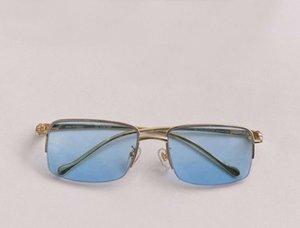 النظارات الشمسية مربع الذهب نصف الإطار العدسات الزرقاء 56 ملليمتر نظارات الرجال أزياء نظارات الشمس سونينبريل إطارات uv400 protecton مع مربع