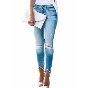 Женские джинсы высокая талия стрейч тощие джинсовые брюки 2021 отверстие ретро мытье моды сексуальные эластичные тонкие карандашные брюки негабаритны