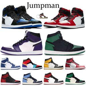 Jumpman 1 1S رجل أحذية كرة السلة المحكمة الأرجواني الأبيض الملكي الساتان الأفعى شيكاغو تو سبج طوكيو متعدد الألوان الرياضة تشغيل أحذية رياضية