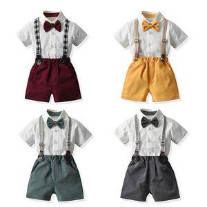 Baby Clothing Sets Boy Suit Boys Kids Clothes Summer Cotton Short Sleeve Shirts Necktie Suspenders Shorts Pants 2Pcs 1-6Y B4939