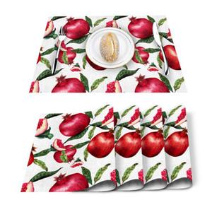 Table Runner 4 6pcs Fruit Red Pomegranate Leaf Kitchen Placemat Set Dining Mats Cotton Linen Pad Bowl Cup Mat Home Decor