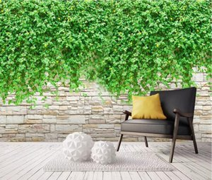 Wallpapers CJSIR Custom Wallpaper Mural Brick Wall Green Vine Background Decorative Painting Papers Home Decor Papel De Pared