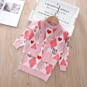 Girls Sweaters Sets Kids Clothing Baby Clothes Outfits Autumn Winter Knitting Patterns Plaid Cardigan Coat Sleeveless Dresses Princess Suits 2Pcs B8346