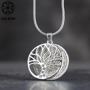 Silver Color Tree Of Life Necklace For Women Fashion Jewelry Chokers Handmade Pendants Vintage Suspension Jewellery Wholesale Pendant Neckla