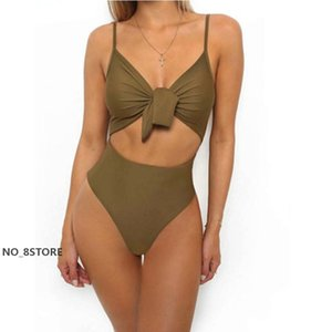 Sexy Women One Piece Bikinis Summer Sleeveless V-neck Bandage Bow Backless Hollow Out Swimsuits Beachwear Bathing Suit A08