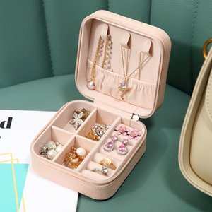 Portable Travel PU Leather Jewelry Box Organizer Display Earrings Ring Necklace Jewellery Zipper Storage Case Women Girls Gifts