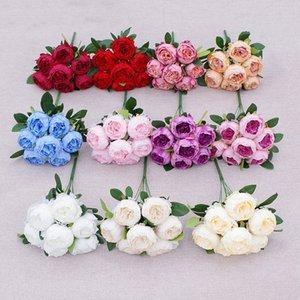 7 cabezas Artificial Peony Flower Simulación Camelia Té de seda Rose para DIY Home Garden Decoración de la boda GWA4617