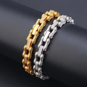 Hiphop Micro Paved Cubic Zirconia Bicycle Chain Bracelet For Men Hip Hop Bling Iced Out CZ Rapper Bracelets Male Jewelry Link,