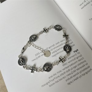 RUIYI Real 925 Sterling Sier Delicate Handmade Cross Skull Buckle Bracelets For Women Vintage Make Old Fine Jewelry