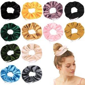 Samt Haarbänder Mädchen Haar Haarringe Ring Elastische Haarbänder Reine Farbe Reißverschluss Haarband Large Darm Scrunchie Haarband 16 Farben 1096 V2