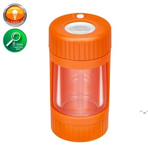 Rechargeable Air Tight Storage Herb Stash Container Magnifying Mag Led Plastic Jar Glow Jar with Smoking Pipe and Grinder OWF6225
