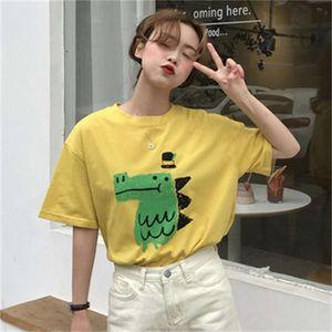2020 new summer women's cartoon dinosaur print loose and versatile short sleeve T-shirt for women