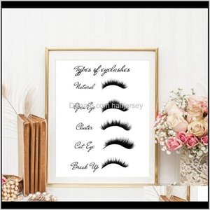 Paintings Eyelash Types Prints Womans Lashes Expansion Poster Modern Fashion Makeup Wall Art Canvas Painting Picture Girls Room Decor Nn7Fv