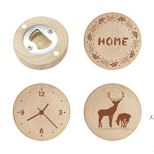 Wooden Round Bottle Opener Fridge Magnet Multifunctional Cap Openers Wedding Favors and Gifts Beer Openers Kitchen Tools AHB6195