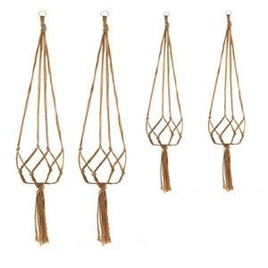 Decor Macrame Knotted Plant Hanger Hook Vintage Cotton Linen Flowerpot Lifting Rope Hanging Basket Pot Holder Home Garden 5XK0 KZPO