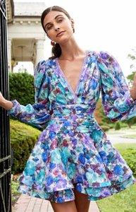 21 Australian Chic Blooming Color Vintage Print Design V-neck Puff Sleeve High Waist Slimming Goddess Dress
