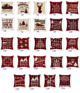 Christmas Pillow Cases Linen Check Christmas Trees Truck And Reindeer Red Plaid Pillowcase Xmas Decor Throw Pillows Covers HWB9833