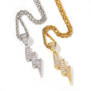 Iced Out Pendant Necklaces Double Lightning Mens Gold Necklace Fashion Hip Hop Jewelry