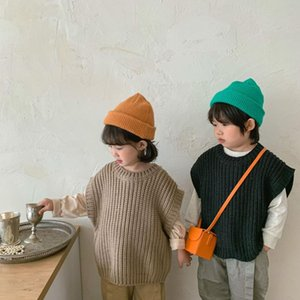 Pullover Children's Clothing Autumn And Winter Thick Thread Sweater Vest Baby Retro Solid Color
