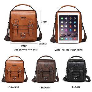 JEEP BULUO Brand New Mans Crossbody Shoulder Bag Multi-function Men Handbags Large Capacity Split Leather Bag For Man Travel