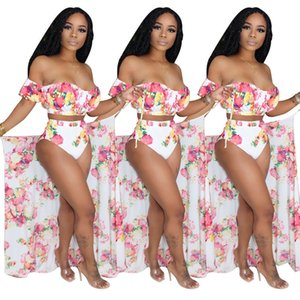 Summer Women Florals Printed Three Pieces Swimsuits Sets Sexy Bikini + Cover up 2020 Summer Beach Holidays Lady Swimwear Outfits