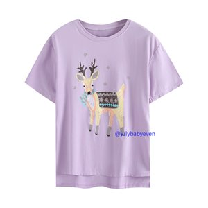 Sika Deer Printing T-shirts Womens 2021 Summer Large Size Clothes Cartoon Animal Pattern Loose Short Sleeve T-shirt Female Pullover Tops