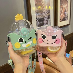 Children S Cups Summer Baby Water Cup Outing Portable Lanyard Strap Cup With Straw Girls Kindergarten Anti-Fall Water Pot Bottle