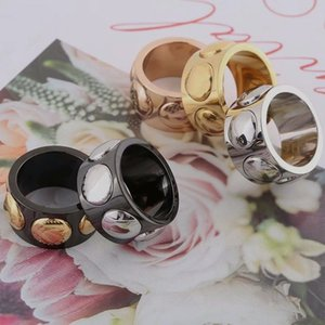 Europe America Style Ring Men Lady Women Titanium steel Black Engraved V Initials Six Rivets Lovers Wide Rings Size US6-US9 5 Color