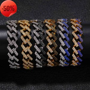 Personality 8inch 15mm Hip Hop Punk Men's Bracelets Bling Iced Out Cubic Zircon Miami Curb Cuban Link Chain Bracelet Jewelry Gifts Wholsales