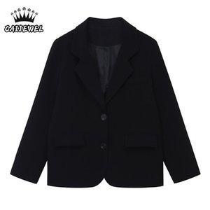 Women's Suits & Blazers Long Sleeves Clothing Women Casual Blazer Lady Ladies Black Street 2021 Autumn Baggy Outerwear Korean Fashion Tops O