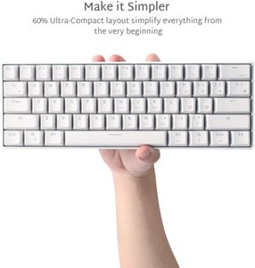 RK ROYAL KLUDGE RK61 Wireless 60% Mechanical Gaming Keyboard, Ultra-Compact 60 Keys Bluetooth Wired Wireless Backlit Keyboard with Programmable Software