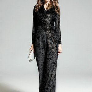 sexy women jumpsuit rivets low v neck long sleeve mid waist black casual elegant female velvet evening s Z058 210524