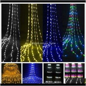 장식 폭포 빛 문자열 240 조명 커튼 LED 결혼식 배경 정원 파티 할로윈 크리스마스 장식 소품 EU 플러그 2M RK IGCP1