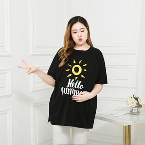Maternity Tops & Tees Large Size Pregnant Women's T-shirt Was Thin Short-sleeved 200 Kg Summer Plus Fat XL Shirt Loose Cotton