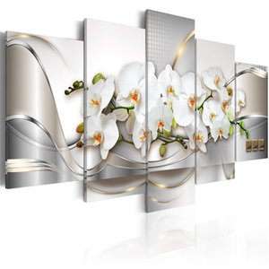 Modern Prints Orchid Flowers Oil Painting on Canvas Art Flowers Wall Pictures for Living Room and Bedroom (No Frame) 624 S2