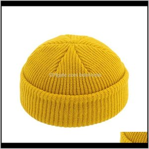 Beanies Caps Headwears Athletic Outdoor Accs Sports & Outdoors Drop Delivery 2021 Women Men Knitted Skullcap Sailor Cap Cuff Brimless Retro N