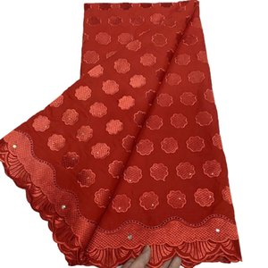2021 Newest Swiss Voile Lace In Switzerland Red Color High Quality African Punch Cotton Fabric For Dress 5Yard Lot