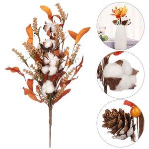 Eucalyptus Leaves Artificial Flower Natural Wedding Ornament Home Decor Party Supplies Dried Cotton Stems Floral Arrangement Decorative Flow