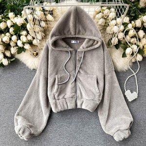 Fitaylor 2021 Spring Women Faux Lamb Hoodies Casual Female Zipper Fur Hooded Warm Coat Long Sleeve Short Sweatshirt Tops Outwear Women's & S