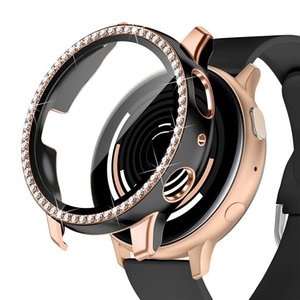 Fashion One Row Bling Diamond Cases PC Bumper For Samsung Galaxy Watch Active 2 Case 44mm 40mm With HD Screen Protector By Retailer Box Packing