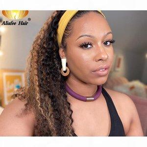 AliaFee Highlight Kinky Кудрявый парик оголовье парик без глиной человеческих волос для волос для волос Реальная линия волос Remy Бразильский для женщин