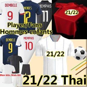 3XL Maillot De Lyonnais 2020 2021 Вентиляторы Футбол Версия Джерси Лион Мемфис Дембеле Мужчины Детский комплект Футбольная рубашка Брюки
