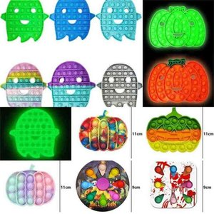 Glow in Dark Night Luminous fidget toys push pop poo-its board game kids children halloween pumpkin ghost cartoon bubble puzzle rainbow tie dye color G96JARV