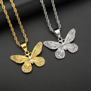 Hip Hop Iced Out Bling Butterfly Pendant Necklaces Female Gold Color Stainless Steel Animal Necklace For Women Hiphop Jewelry