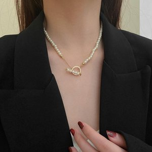 Goth Pearl Choker Necklace Gold Color Lasso Pendants Women Jewelry On The Neck Chain Beads Chocker Collar For Girl Pendant Necklaces