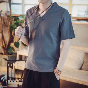 Tshirt Summer Men's Chinese Style Hemp Cáñamo de manga corta CAMISETA GRIS AZUL